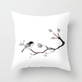 Bird on tree black and white painting Throw Pillow