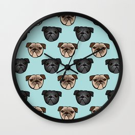 Black and Fawn Pug Faces Wall Clock