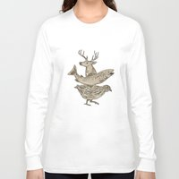 trout Long Sleeve T-shirts featuring Deer Trout Quail Drawing by patrimonio