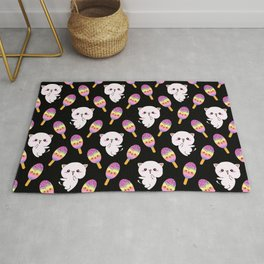 Cute happy playful cuddly funny baby kittens, sweet adorable yummy colorful Kawaii rainbow ice cream popsicles cartoon summer black pattern design. Rug