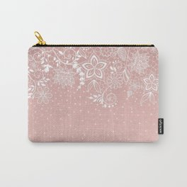 Elegant white lace floral and confetti design Carry-All Pouch