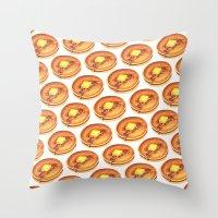 """Throw Pillows featuring Pancake """"Short Stack"""" Pattern by Kelly Gilleran"""