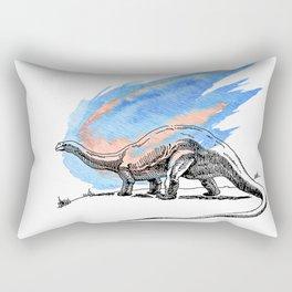 Brontosaurus Dinosaur on Blue Watercolor Asteroid Rectangular Pillow