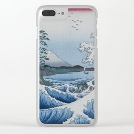 Sea Off Satta - Japanese Woodblock Print by Hiroshige Clear iPhone Case