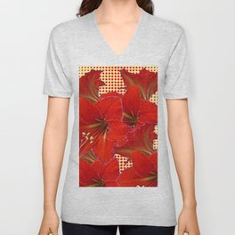 CLUSTER RED AMARYLLIS FLOWERS YELLOW-RED ART Unisex V-Neck