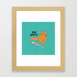 Bon Appetit - Cat with Fish Framed Art Print