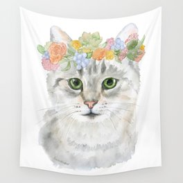 Gray Tabby Cat Floral Wreath Watercolor Wall Tapestry