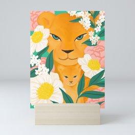 Mother Lion and Cub I Mini Art Print
