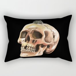 Cracked skull with mouse Rectangular Pillow