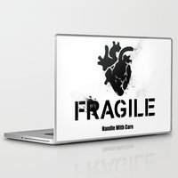 anatomical heart Laptop & iPad Skins featuring Fragile Anatomical Heart by J ō v