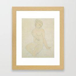 Seated Female Nude, Amedeo Modigliani Framed Art Print