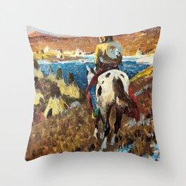 WINTER CAMP OF THE SIOUX - William Herbert Dunton Throw Pillow