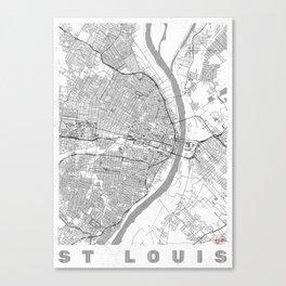 St Louis Map Line Canvas Print