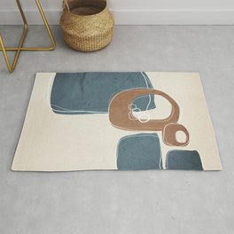 Retro Abstract Design in Cinnamon and Teal Rug