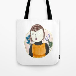 unknown portrait with random botanicals Tote Bag