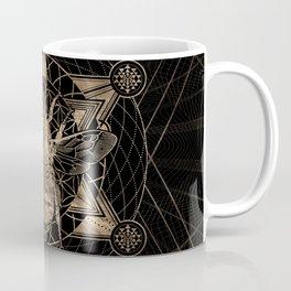 Bumble Bee in Sacred Geometry - Black and Gold Coffee Mug