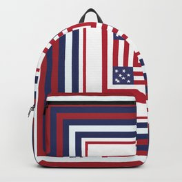 Geometric Patriotic Colors Red White Blue Backpack