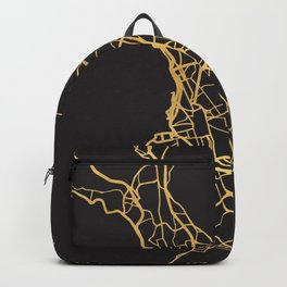 MARSEILLE FRANCE GOLD ON BLACK CITY MAP Backpack
