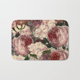 Vintage & Shabby Chic Pink Dark Floral Roses Lilacs Flowers Watercolor Pattern Bath Mat