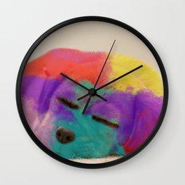 Colorful Rainbow Puppy Dog Art By Daniel MacGregor Wall Clock