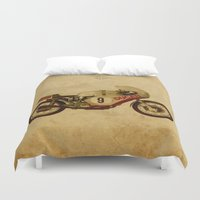 ducati Duvet Covers featuring Ducati Number 9 by Larsson Stevensem