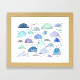 Whale party Framed Art Print