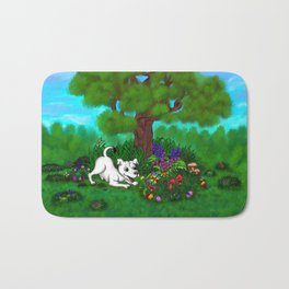 Easter - Spring-awakening - Puppy Capo and Butterfly Bath Mat