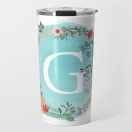 Personalized Monogram Initial Letter G Blue Watercolor Flower Wreath Artwork Travel Mug