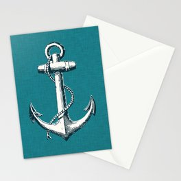 Nautical Anchor, Nautical Art Print, Linen Textured, Nautical Print, Anchor, Nautical Art, Nautical, Ocean, Sea, Sailing Art Print, Nautical Decor, Anchor Poster, Kids Room, Nursery, Playroom, Children's Art Print, Anchor Stationery Cards
