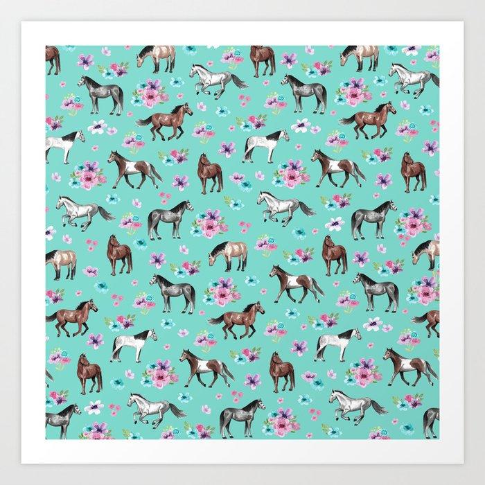 Hand drawn horses, Flower horses, Floral Pattern, Aqua Blue Kunstdrucke