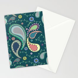 Boho Paisley on Blue Stationery Cards