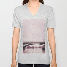 Pink mood at Triana Bridge Unisex V-Neck