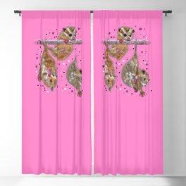 Possum trio on a branch - Pink Blackout Curtain