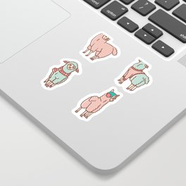 Pastel Colors Cartoon Alpaca Llama Sticker Set, Adorable Hand Drawn Kawaii Animals Sticker
