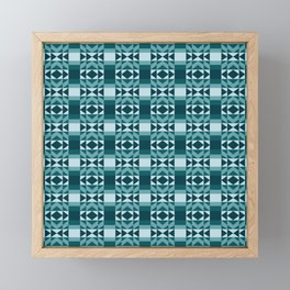 Fresh and Bright Aztec Pattern Deep Ocean Wave Seafoam Aqua Framed Mini Art Print