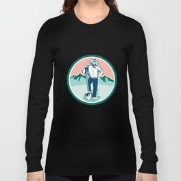 Gold Miner With Shovel Circle Retro Long Sleeve T-shirt