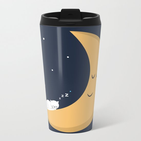 The Cat and the Moon Metal Travel Mug