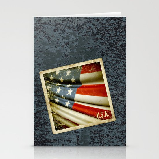 Grunge sticker of United States flag Stationery Cards