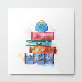 Watercolor Suitcases Illustration Art Metal Print