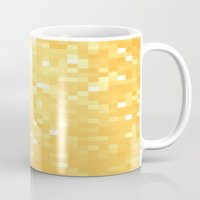 pixel art Mugs featuring Golden pixeLs by 2sweet4words Designs