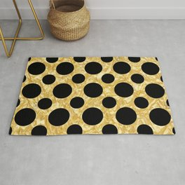 Black Dots on Textured Gold Rug