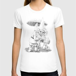 Knobby-caned gnome with mushrooms T-shirt