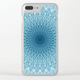 Stroked Quantum Mandala Blue 1 Clear iPhone Case