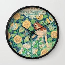 La Grande Dame by Eugène Grasset - Art Nouveau Vintage Retro Poster Wall Clock