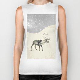 Deer in the snow Biker Tank