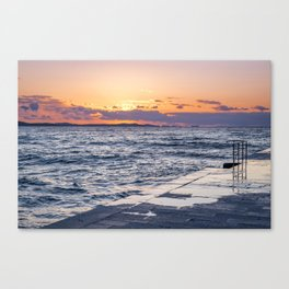 Sunset and Zadar -perfect connection. Canvas Print