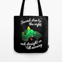 neverland Tote Bags featuring Neverland  by Liana Alvarez