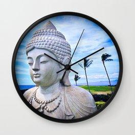 """Go where you feel most alive"" quote Hawaiian white Buddha Wall Clock"