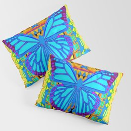 Lime Sunflower Blue Butterfly Floral Pillow Sham