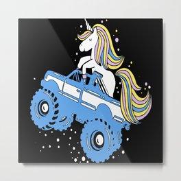Monster Trucks Unicorn Driver Gift Idea Design Metal Print